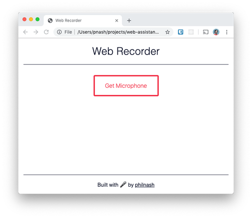 The starter project for the web recorder. It has a heading, a button and a footer and it doesn't do anything yet.