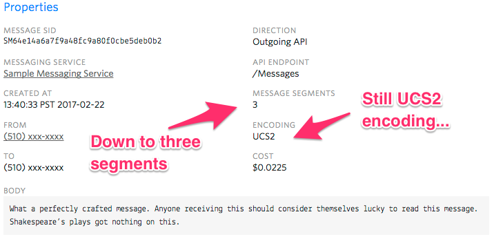 Three SMS segments due to encoding