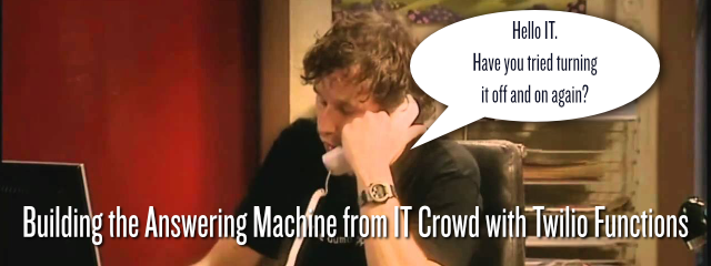 Picture of Roy from IT Crowd answering the phone