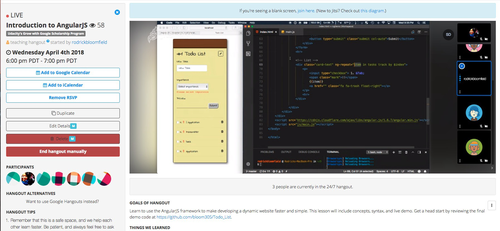 A hangout organized by Julian, Judi, and Rodrick (who in this screenshot is teaching an introduction to AngularJS.