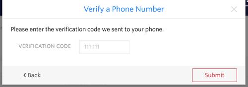 電話番号の検証を完了する