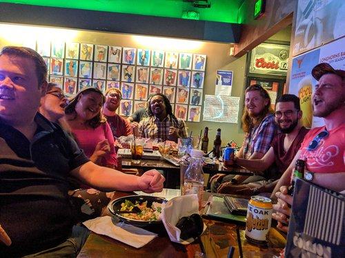 Developers from LonghornPHP belting out some karaoke sing along