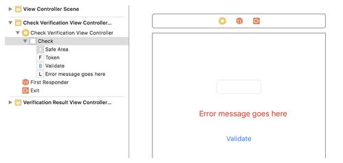 view controller error message