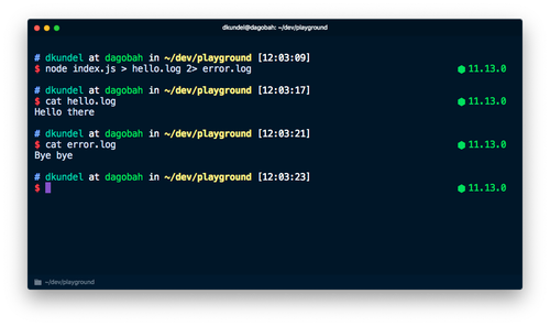 Screenshot of terminal showing how error output is in different file