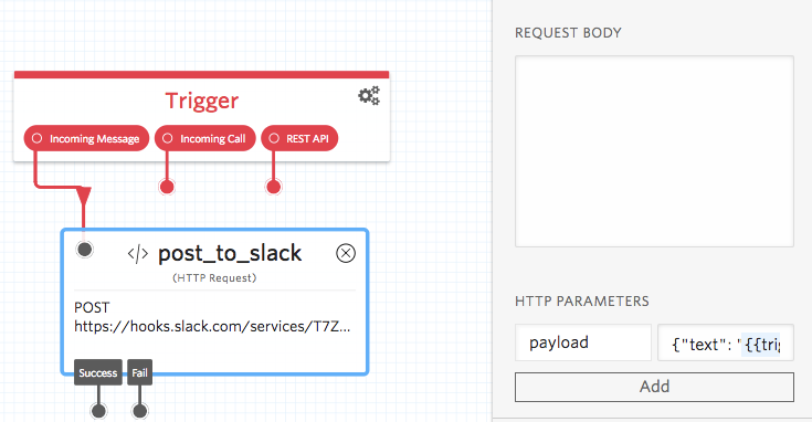 Saving parameters with the HTTP widget