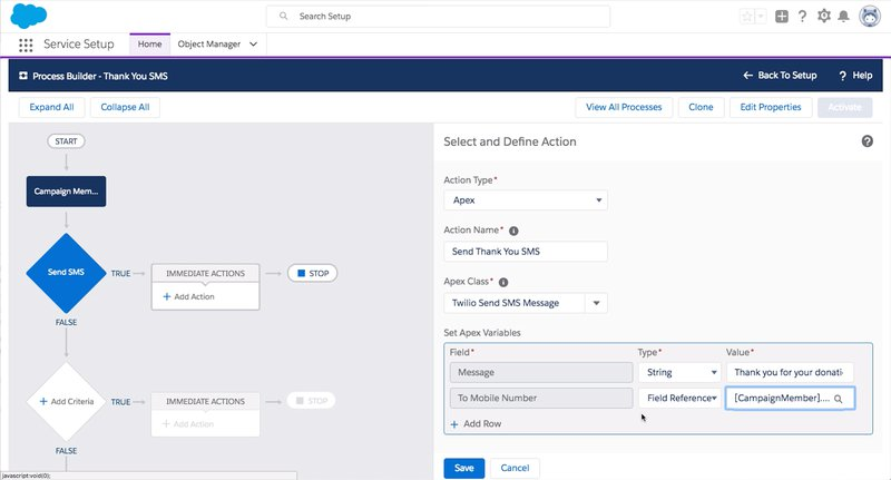 twilio for salesforce process builder
