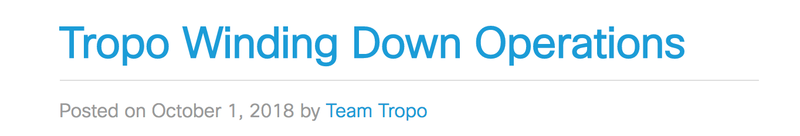 Tropo winding down