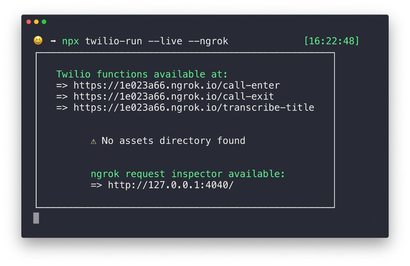 Terminal showing the live endpoints of Twilio run