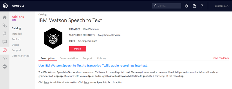 IBM Watson Speech to Text Add-onのインストール