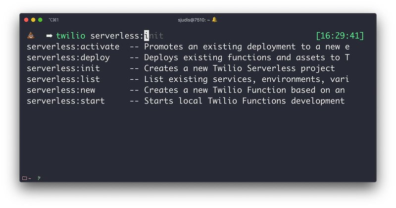 `twilio serverless` commands shown with completion: activate, deploy, init, list, new and start