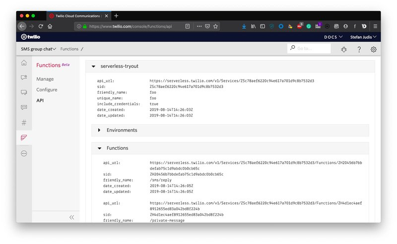 Twilio Console showing the read-only UI for Twilio API deployed functions