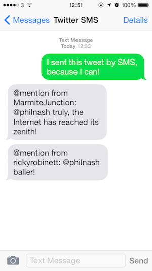 Sending and receiving SMS Tweets