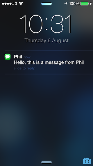 If you run the code, you should receive a message from the name you use instead of the number.