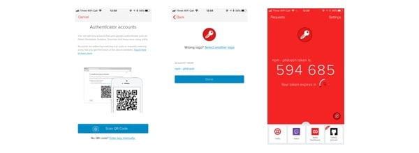 A progression through screens in the Authy app; scanning the barcode, saving the account and then seeing the 6 digit one time password for the npm account.