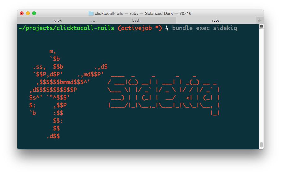 When Sidekiq starts up, the log shows some ASCII art of a person kicking the word Sidekiq