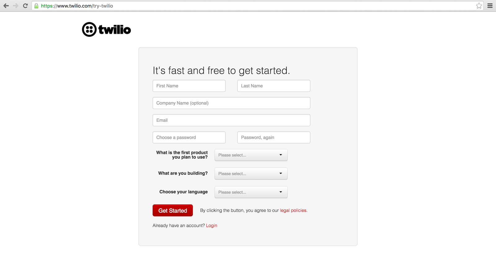 Twilio sign up screen.