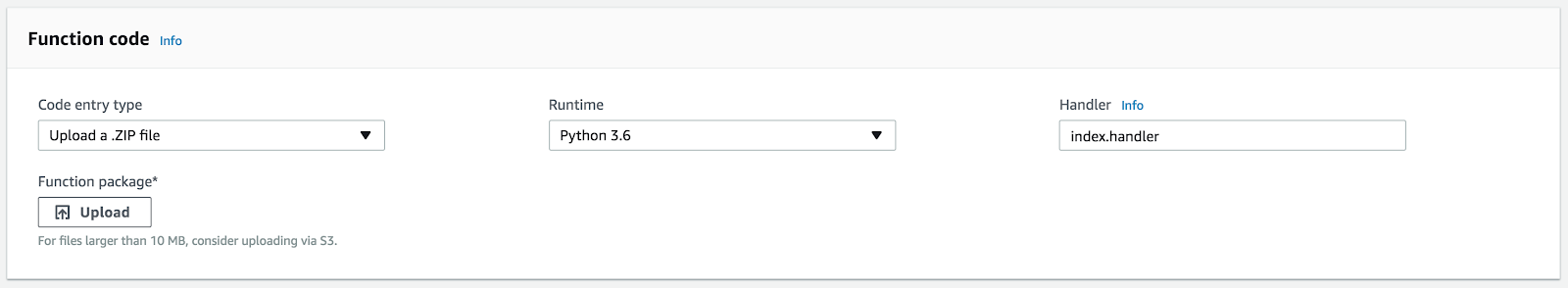 Upload a zip file to Lambda