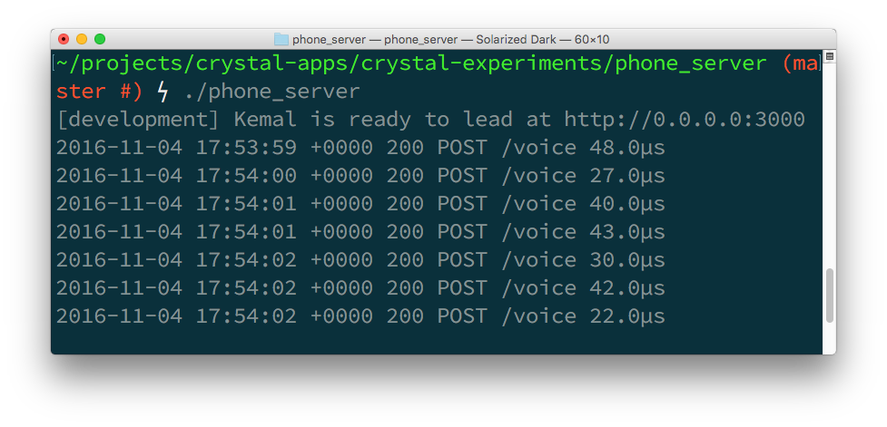 A few runs of the server compiled in release mode show response times of between 22 and 48 micro seconds.