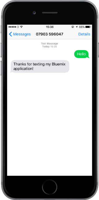 Sending any SMS message to your Twilio number and your application will reply with 'Thanks for texting my Bluemix application!