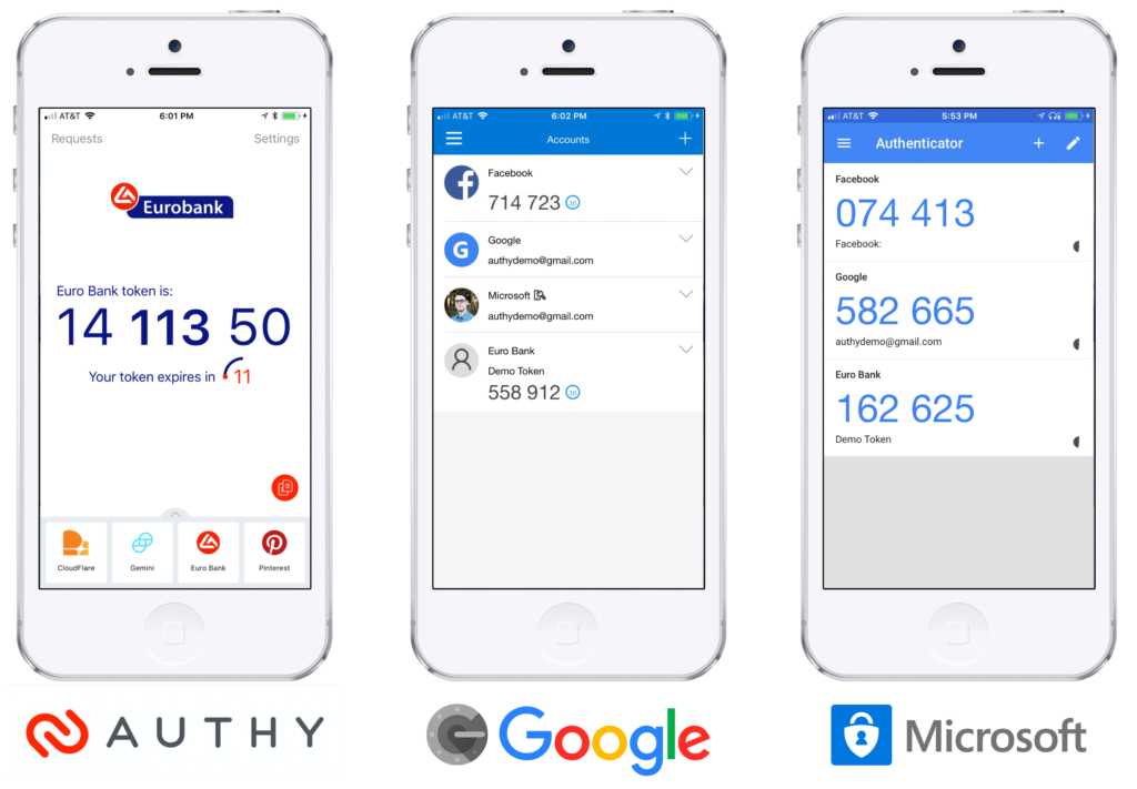 Authy, Microsoft, Google authenticators compared