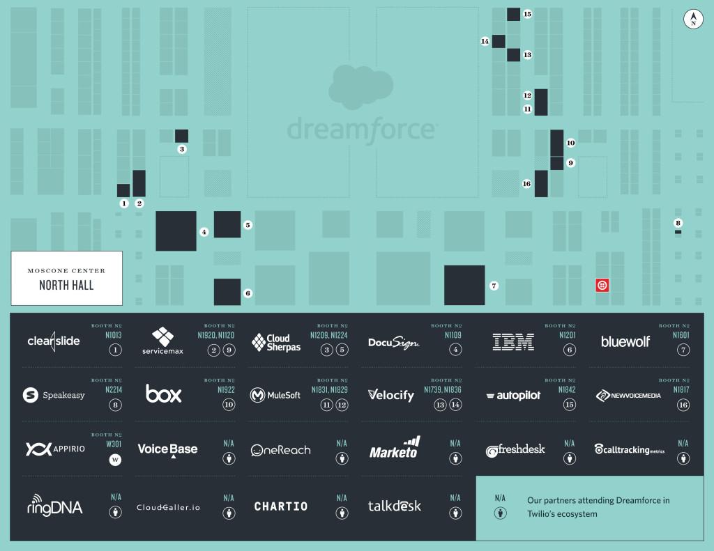Find Team Twilio At Dreamforce 2015 - Twilio Dreamforce Map on