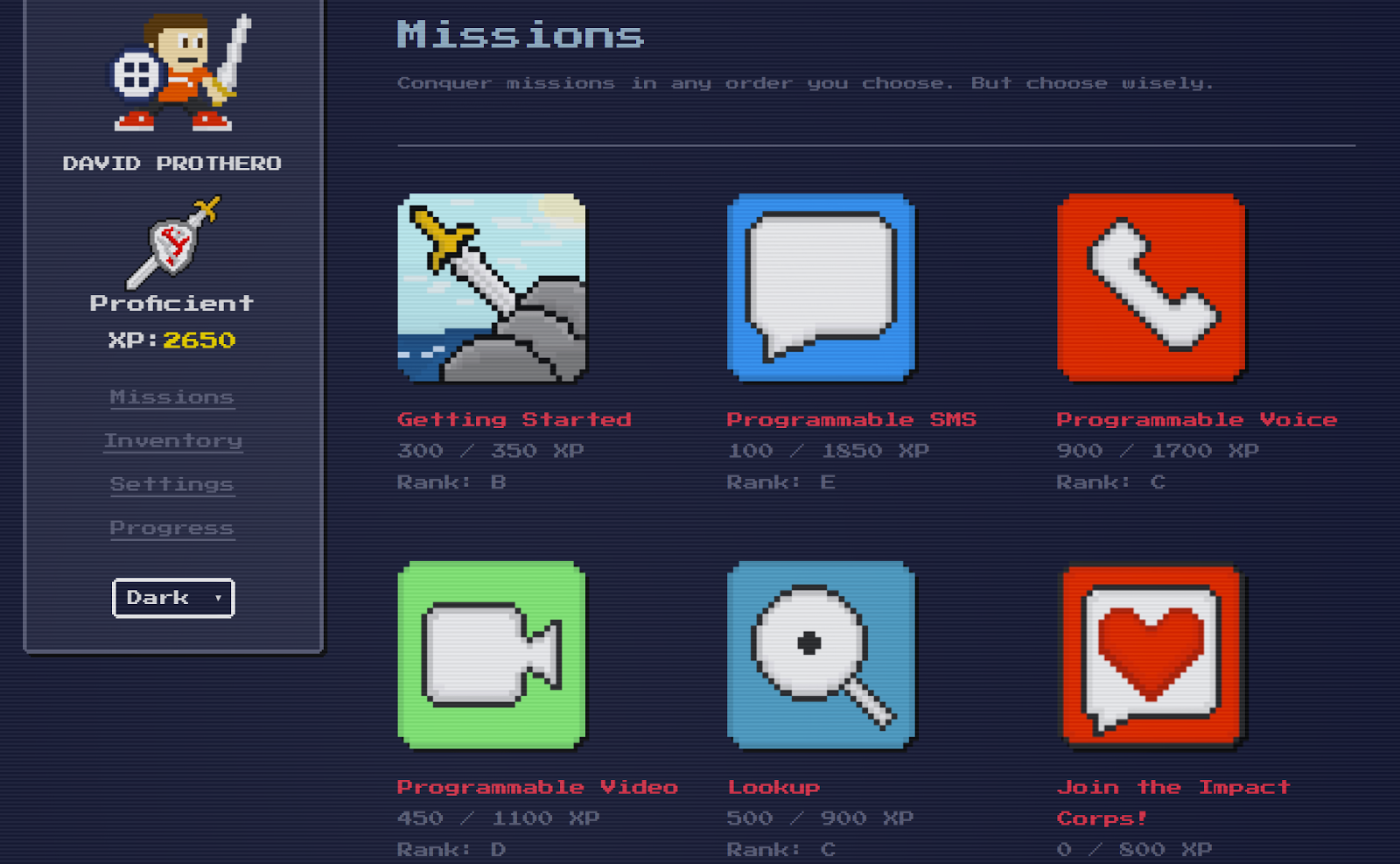 Select TwilioQuest missions to learn communications products quickly.