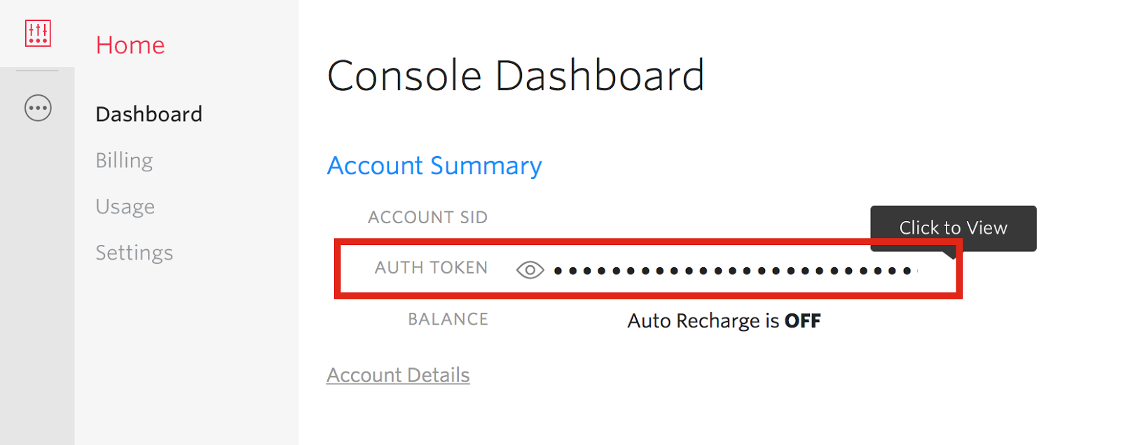 Twilio console dashboard