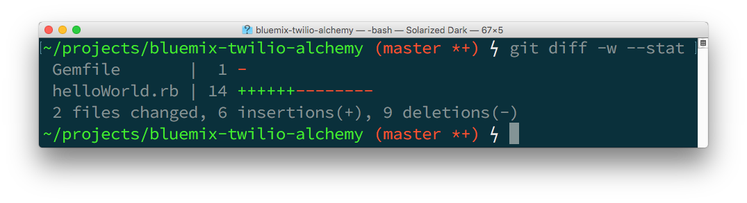 The git diff --stat command shows 2 files changed with 6 insertions and 9 deletions.