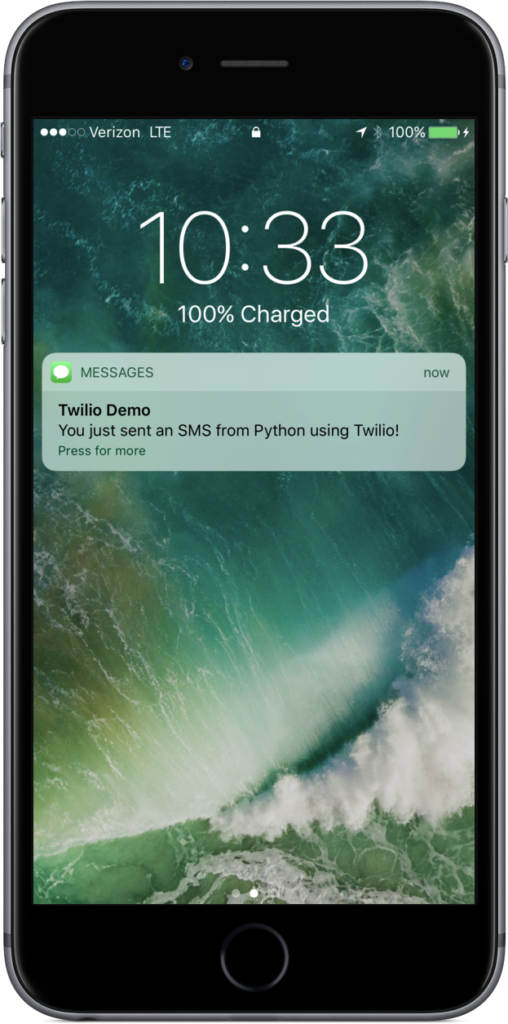 SMS sent from Python code received on an iPhone