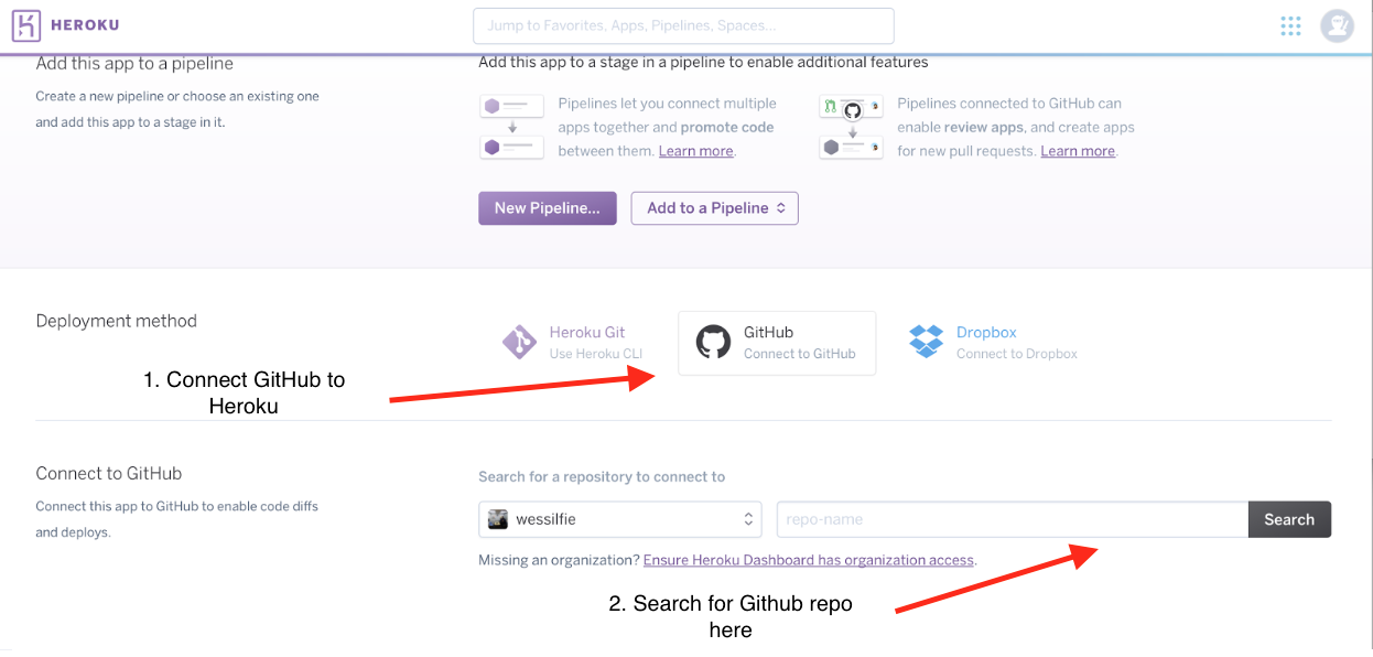 Connect your GitHub account to Heroku.