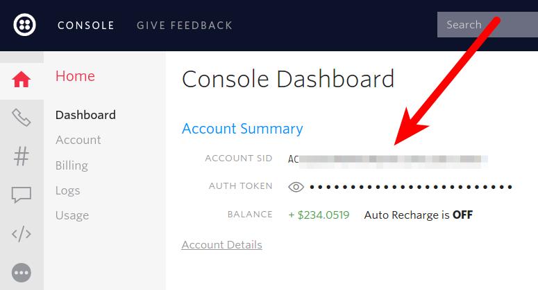 Twilio console showing account credentials