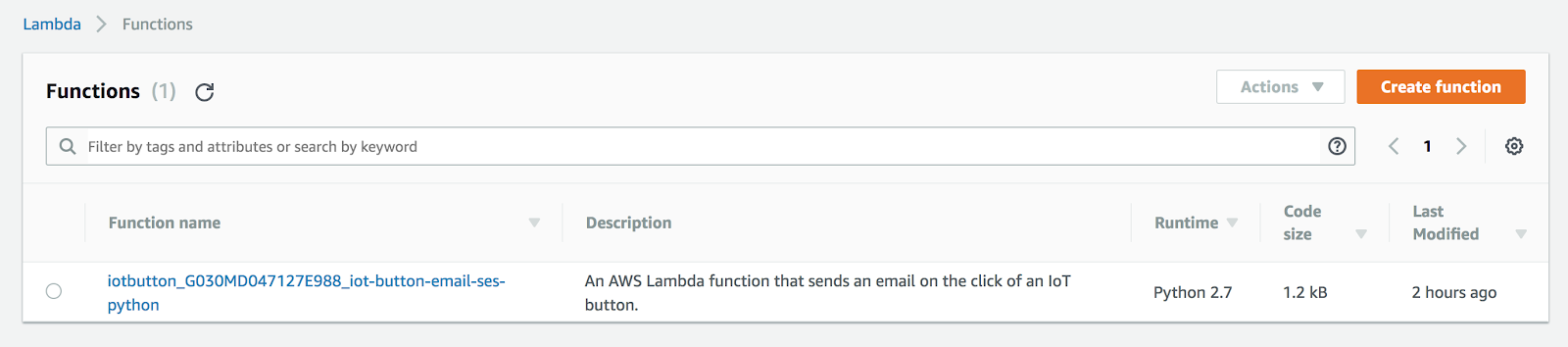Search for a created Lambda function