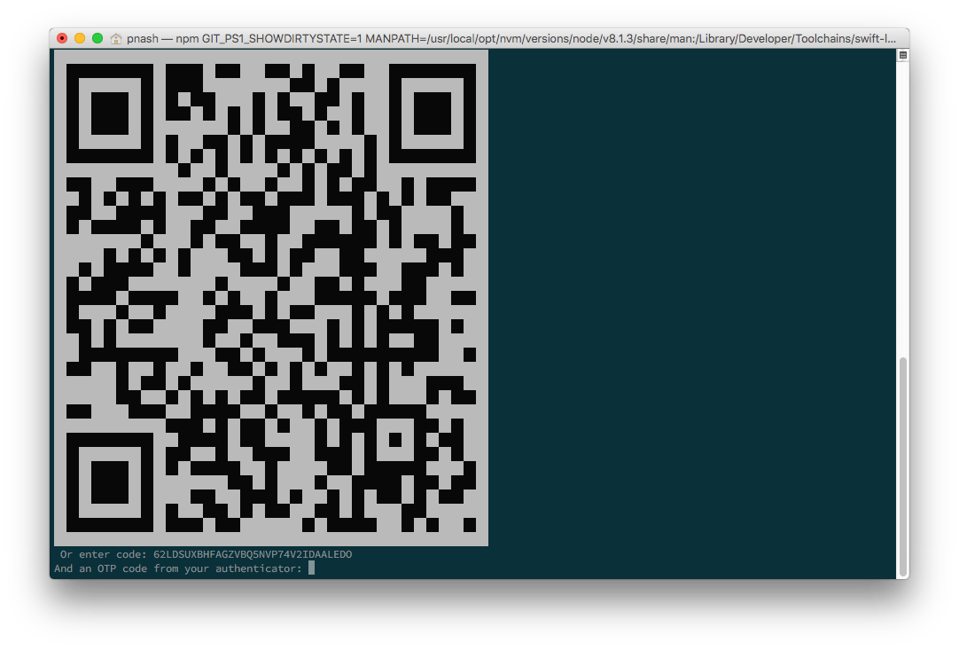 A QR code being displayed on the command line.
