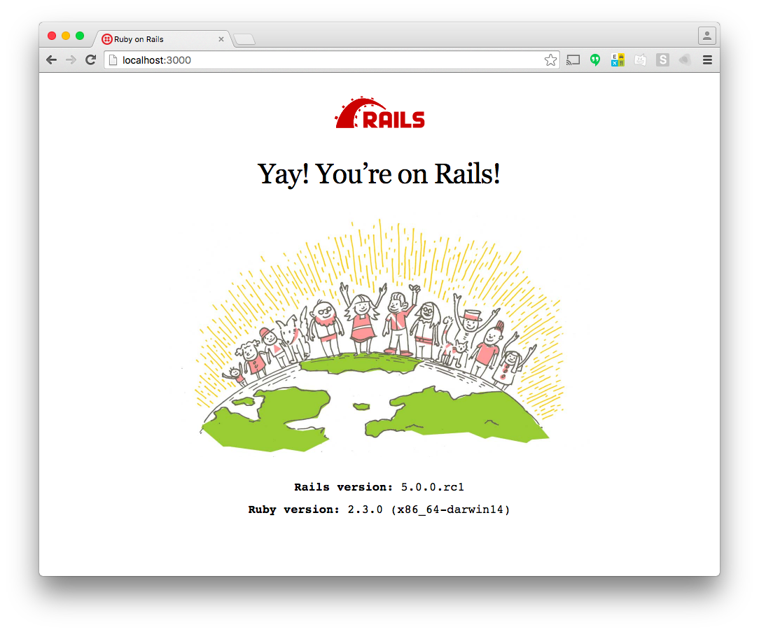 The successful Rails install page. It says 'Yay! You're on Rails!'.