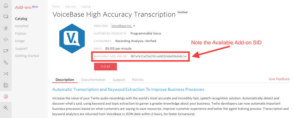 Voicebase High Accuracy Transcription in Console
