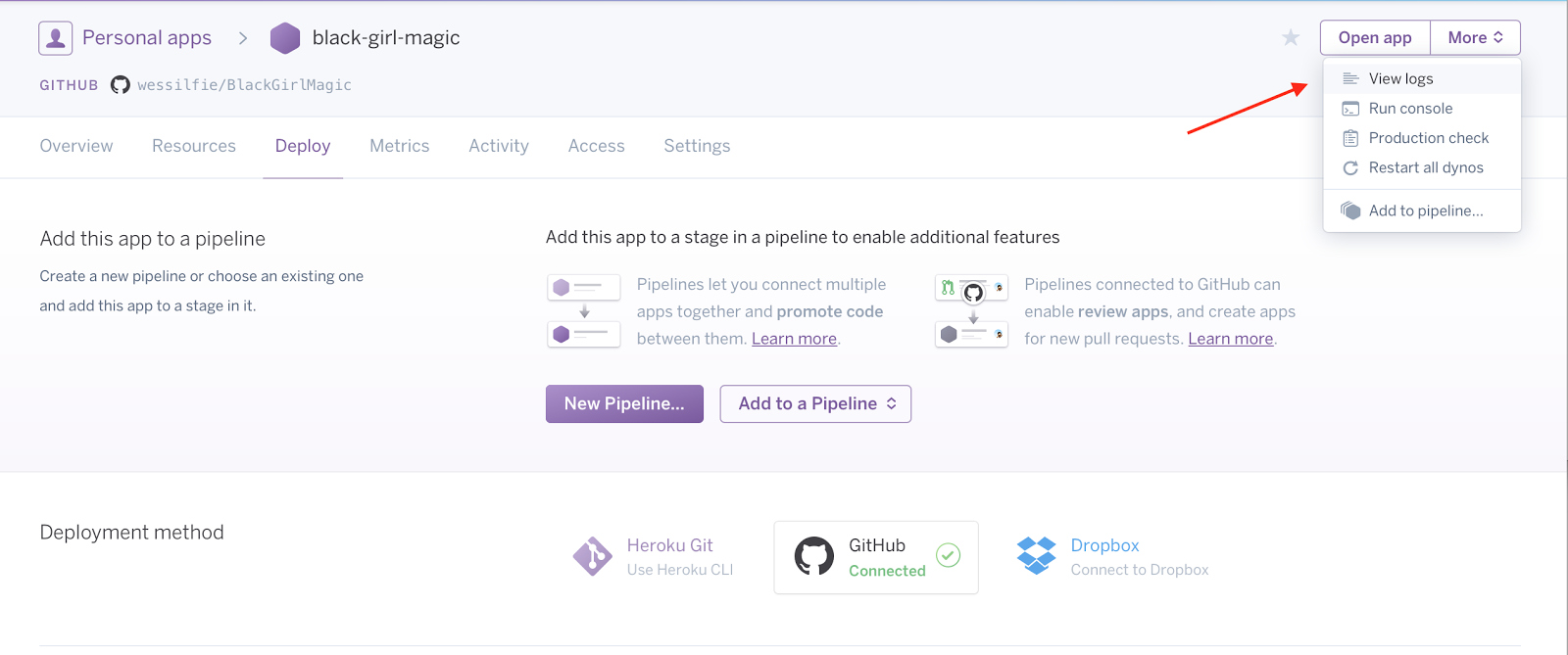 How to view logs in Heroku