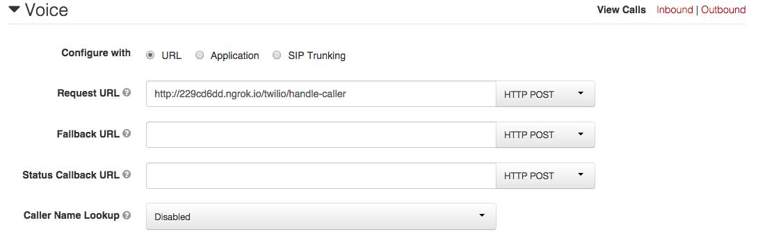 Configuring a Twilio Number
