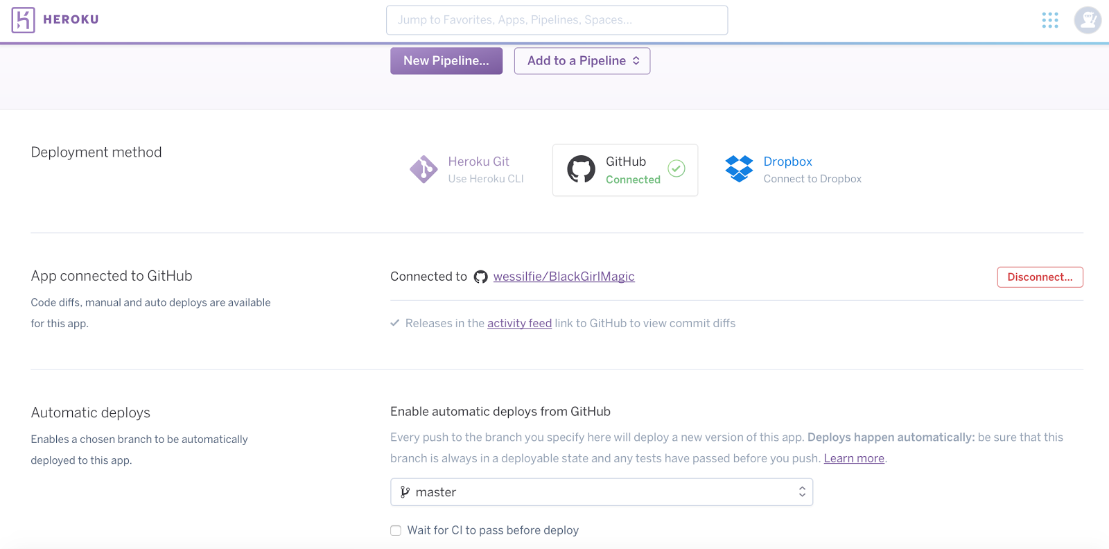 Successful connection of a GitHub account and Heroku
