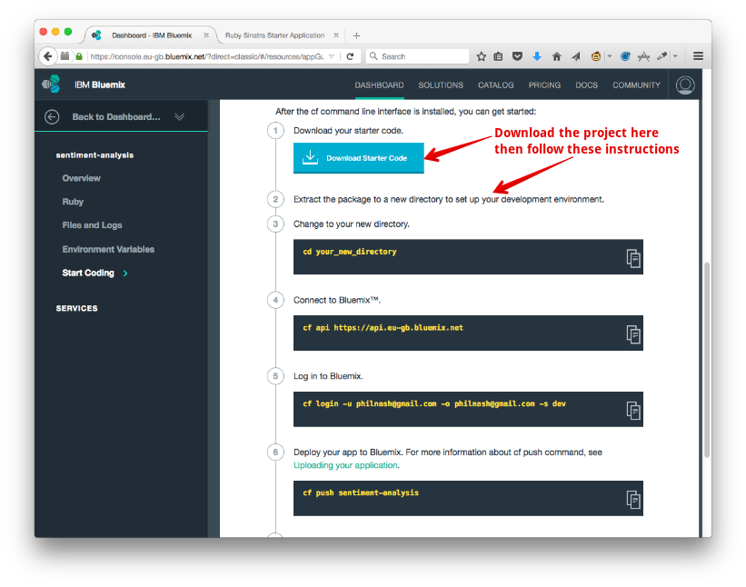 Go back to the application starting page and follow the instructions to download the project and connect Cloud Foundry