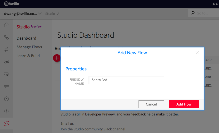 adding a new twilio studio flow