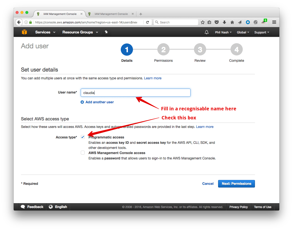 Fill in a user name in the User name field and check the box for Programmatic Access.