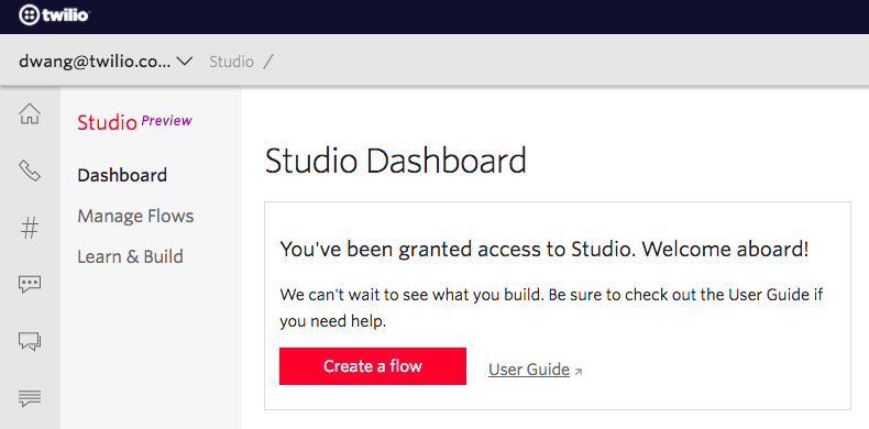 dashboard of twilio studio
