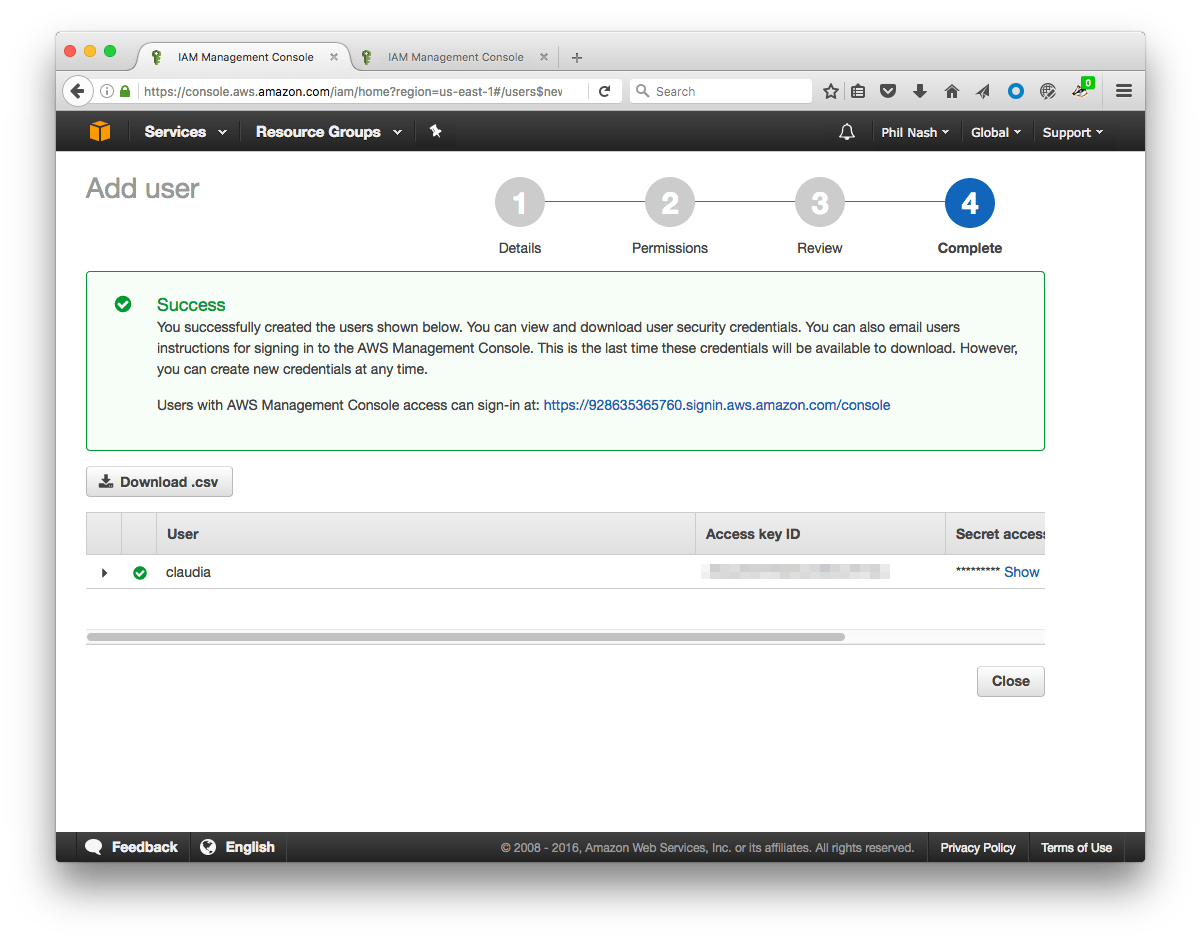 The success screen shows the user credentials for your new user.