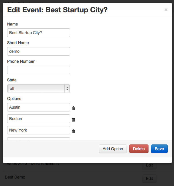 edit event