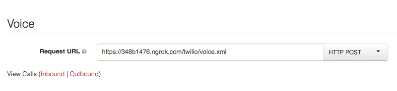Enter your ngrok URL in the voice request URL field.