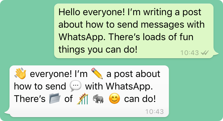 An example of sending a message to the app we're going to build. The WhatsApp number responds with the message translated to emoji.