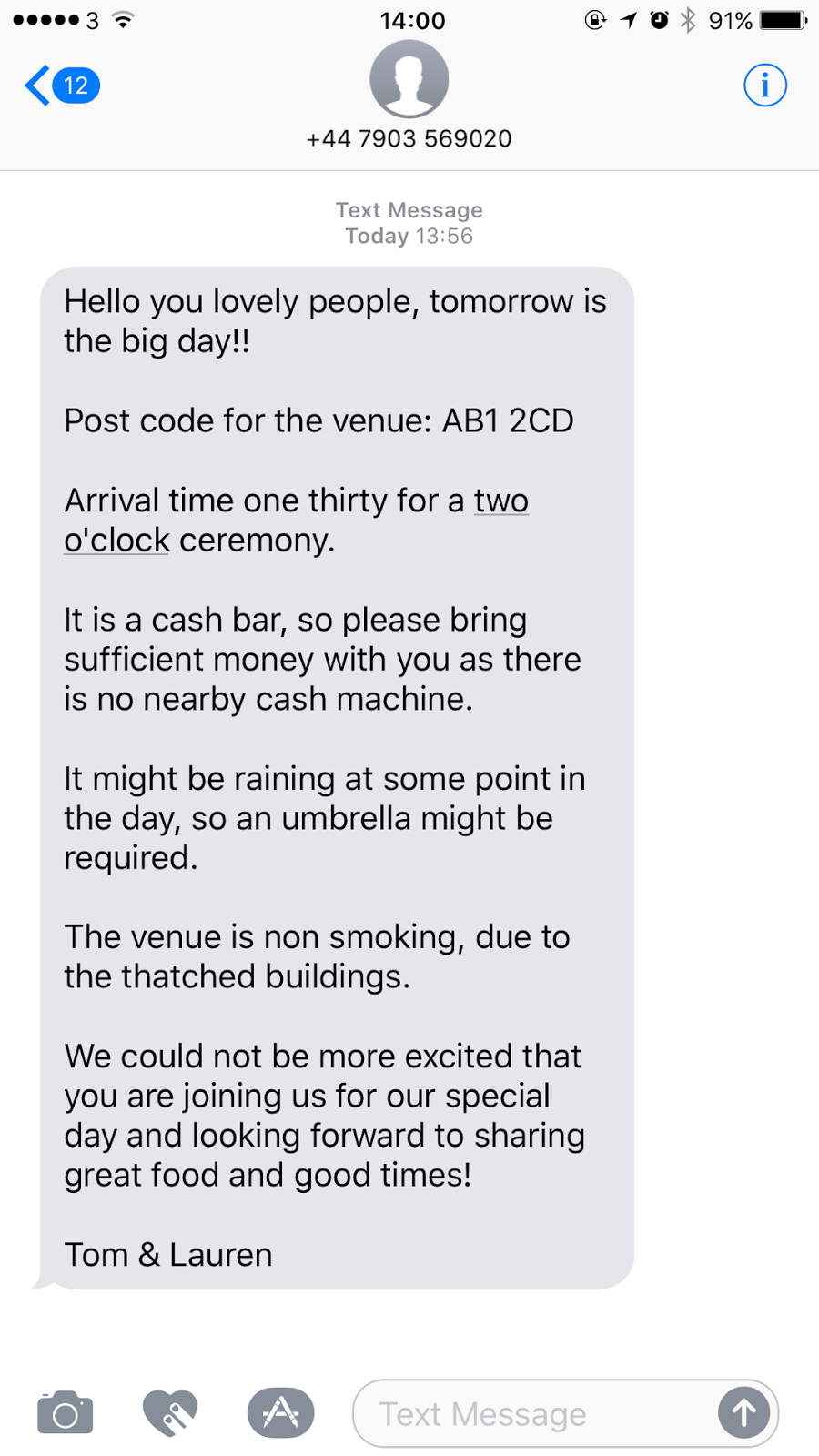 Wedding at scale how i used twilio python and google to automate the only thing left to do was send a final sms to remind guests of the basic details and to arm themselves with an umbrella to ward off the typically rainy stopboris Gallery