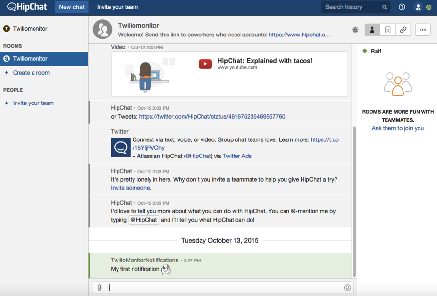 Integrate Twilio Monitor with HipChat - Twilio
