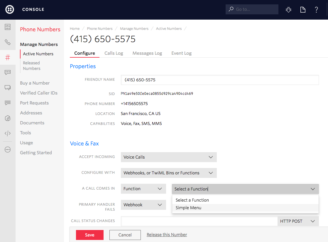 Connecting Twilio Functions with a phone number