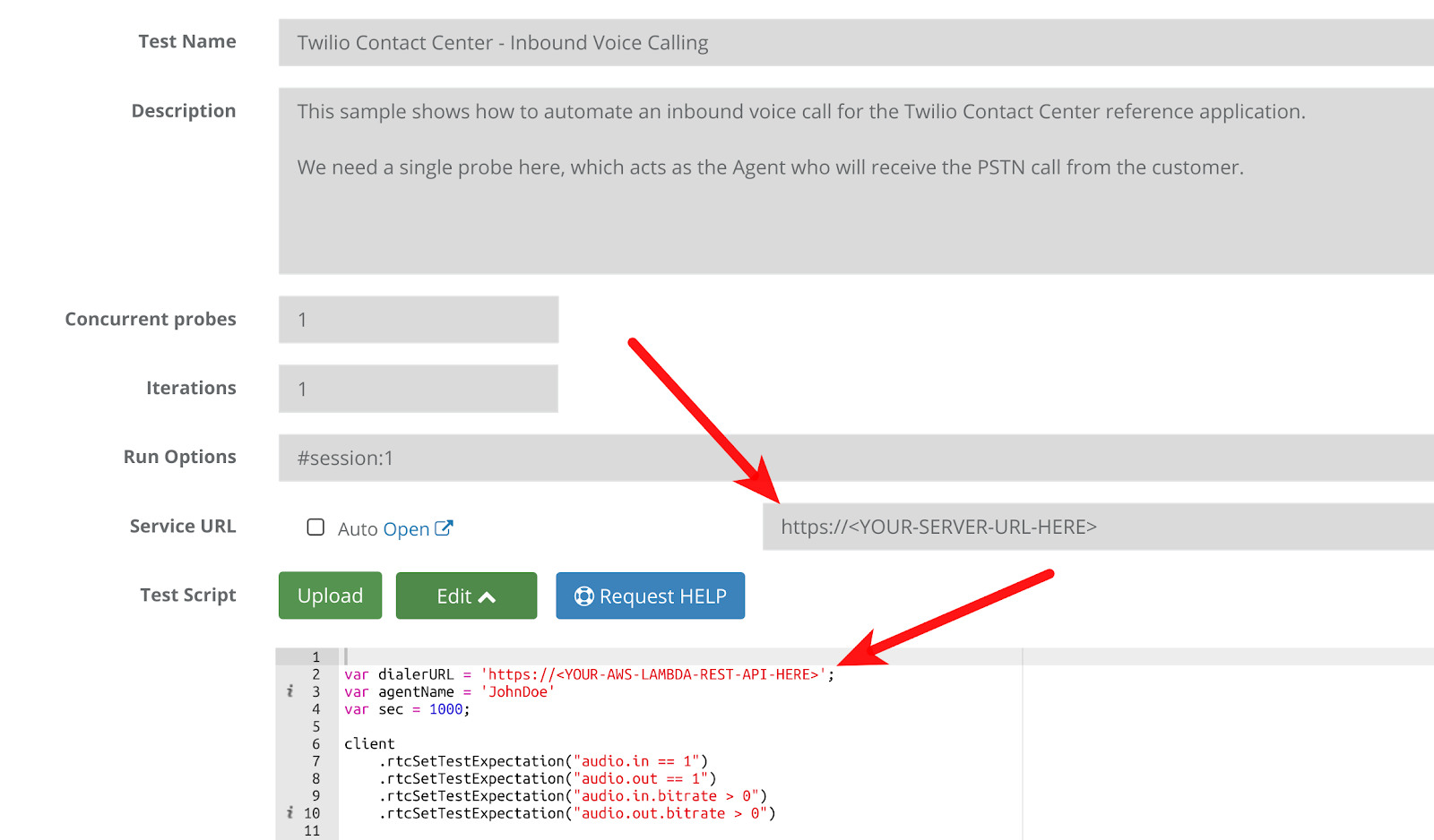 Setting up the call center test script